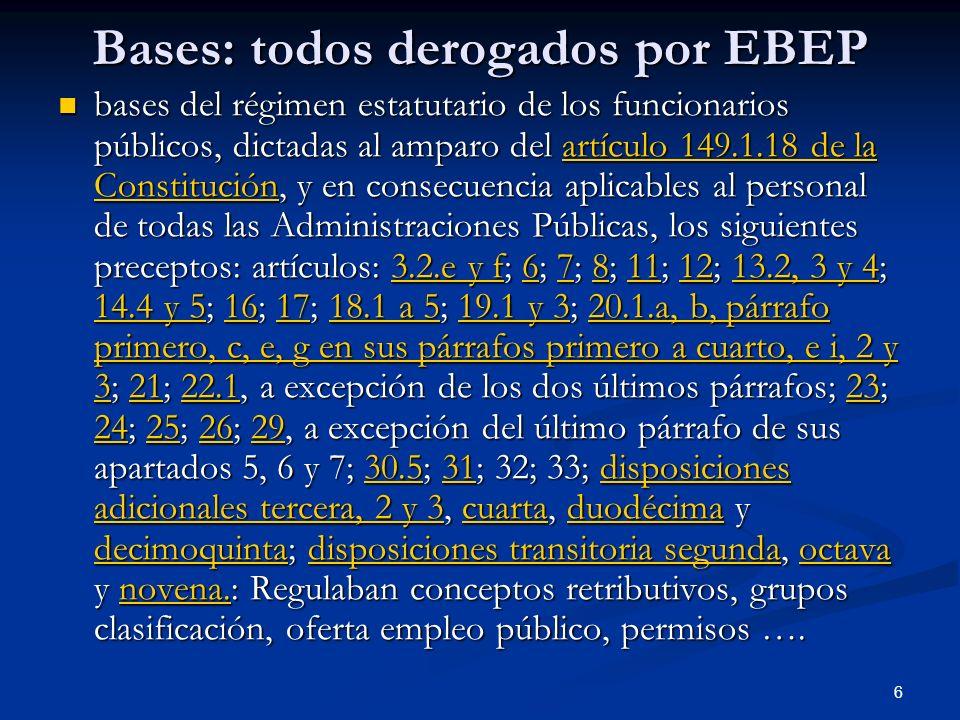 Bases: todos derogados por EBEP