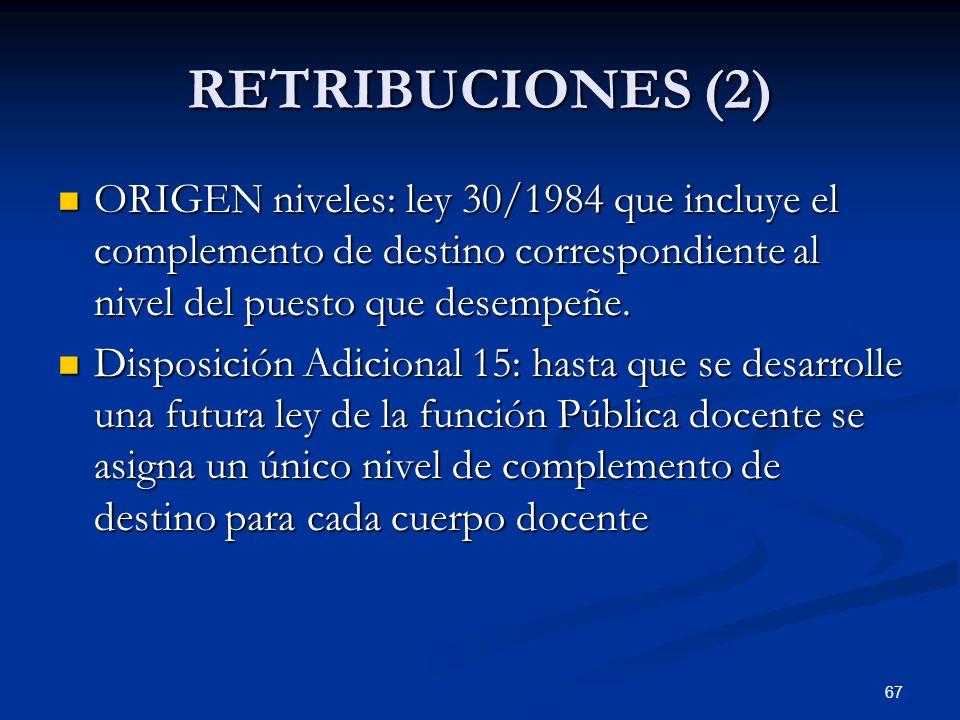 RETRIBUCIONES (2)ORIGEN niveles: ley 30/1984 que incluye el complemento de destino correspondiente al nivel del puesto que desempeñe.