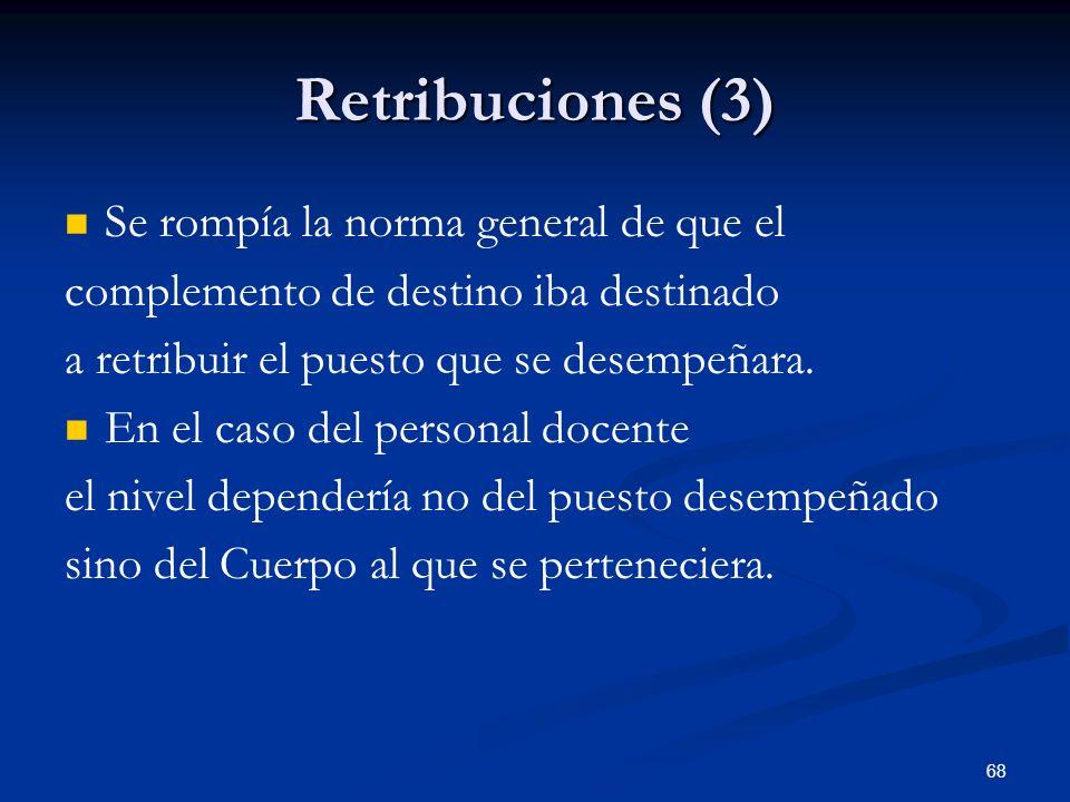 Retribuciones (3) Se rompía la norma general de que el