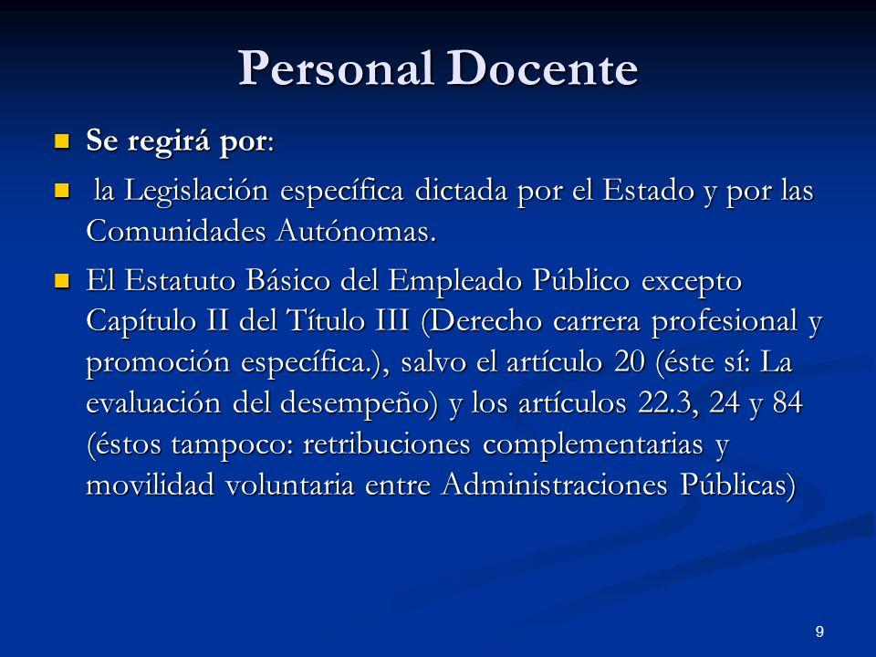 Personal Docente Se regirá por: