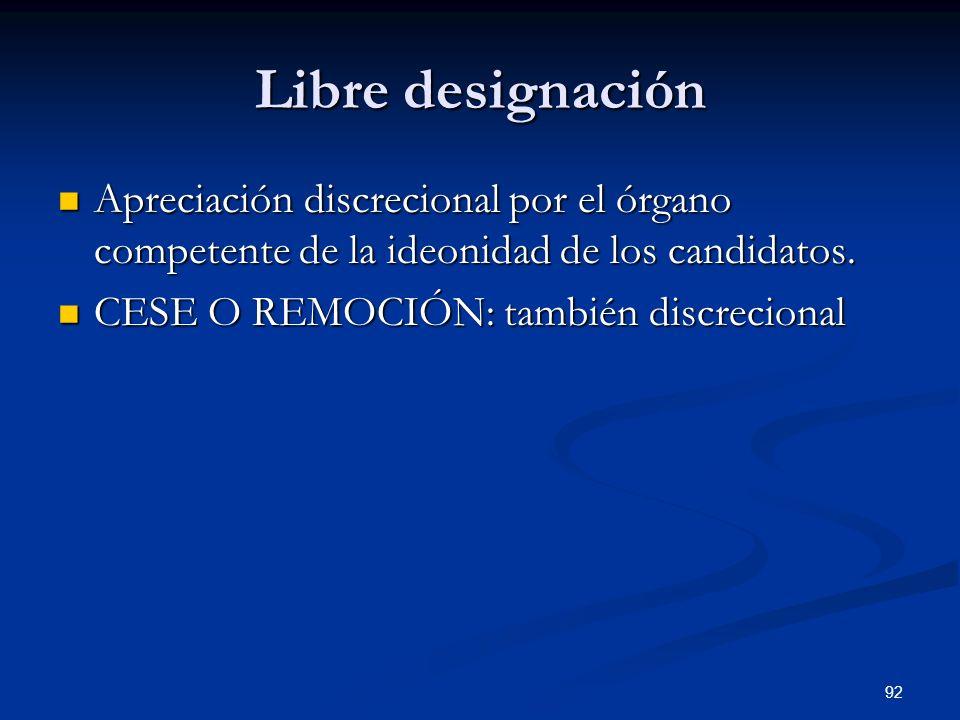 Libre designación Apreciación discrecional por el órgano competente de la ideonidad de los candidatos.