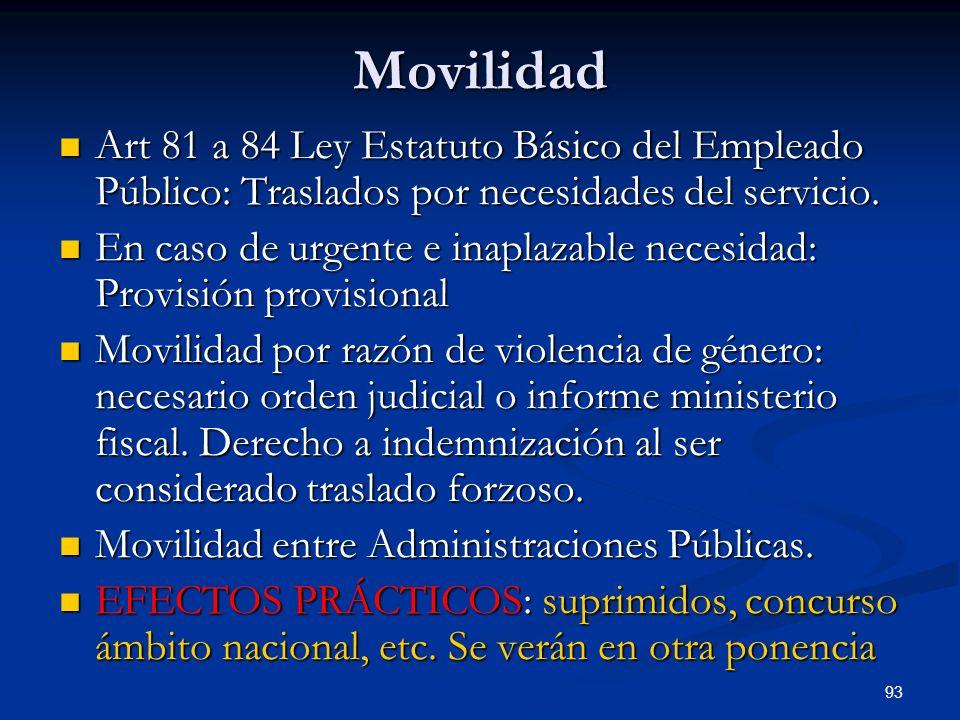 Movilidad Art 81 a 84 Ley Estatuto Básico del Empleado Público: Traslados por necesidades del servicio.