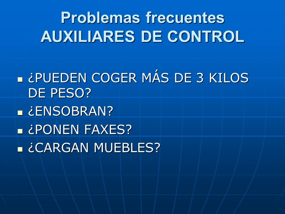 Problemas frecuentes AUXILIARES DE CONTROL