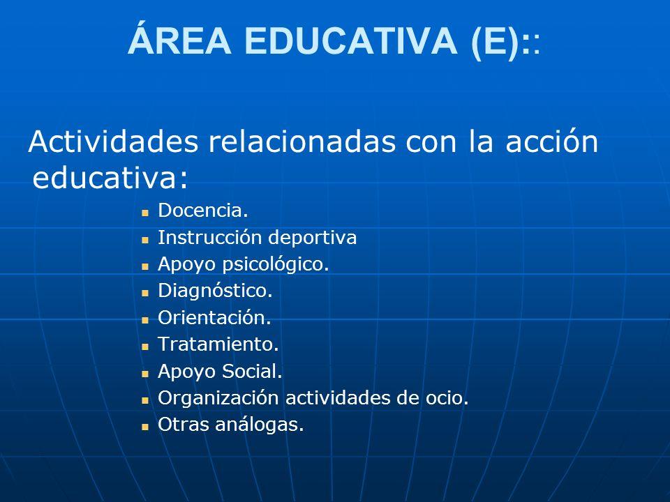 ÁREA EDUCATIVA (E):: Actividades relacionadas con la acción educativa:
