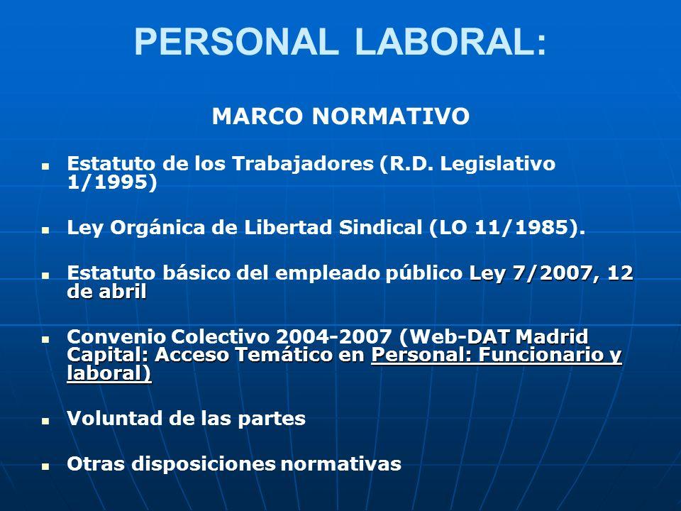 PERSONAL LABORAL: MARCO NORMATIVO