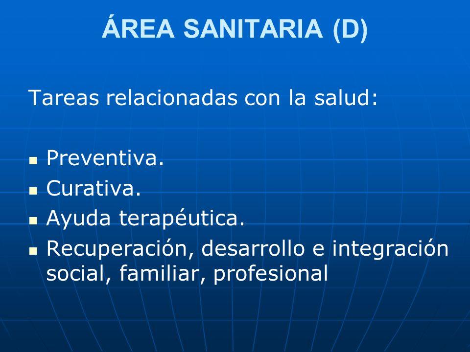 ÁREA SANITARIA (D) Tareas relacionadas con la salud: Preventiva.