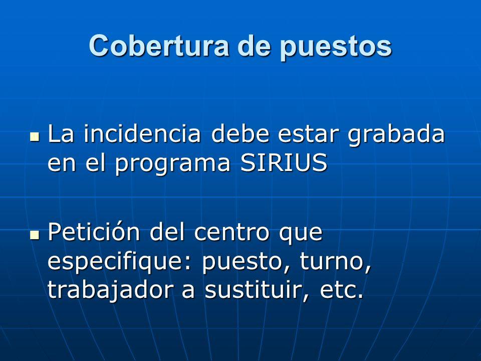 Cobertura de puestos La incidencia debe estar grabada en el programa SIRIUS.