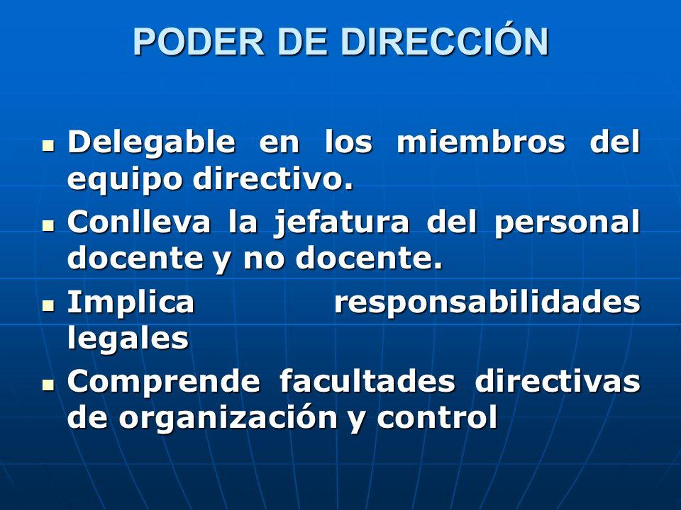 PODER DE DIRECCIÓN Delegable en los miembros del equipo directivo.