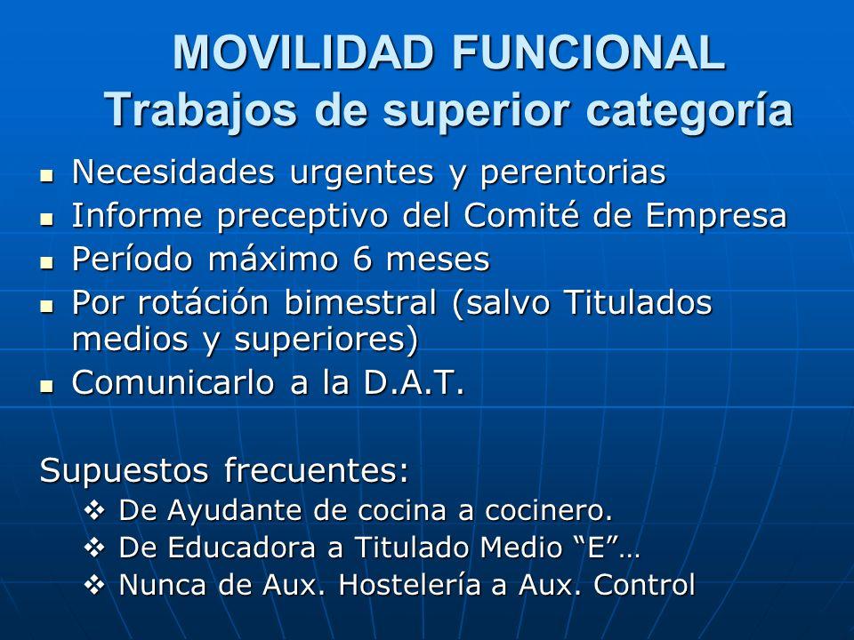 MOVILIDAD FUNCIONAL Trabajos de superior categoría