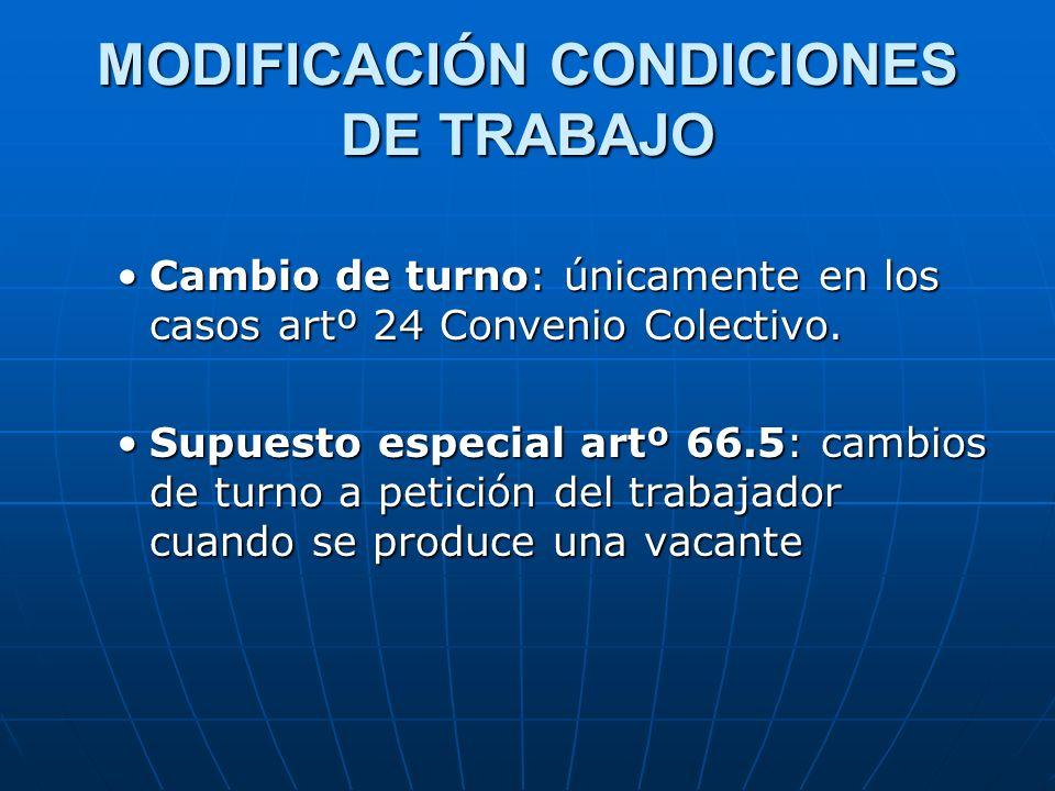 MODIFICACIÓN CONDICIONES DE TRABAJO
