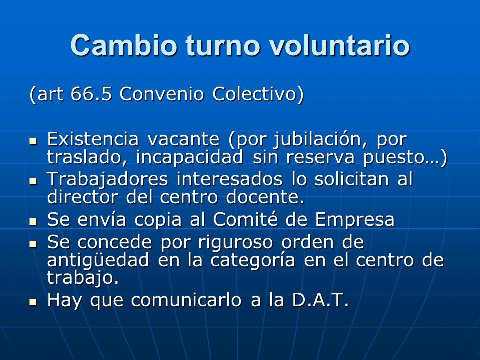 Cambio turno voluntario
