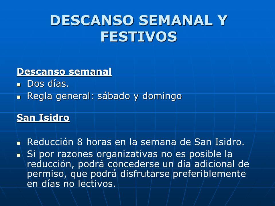 DESCANSO SEMANAL Y FESTIVOS