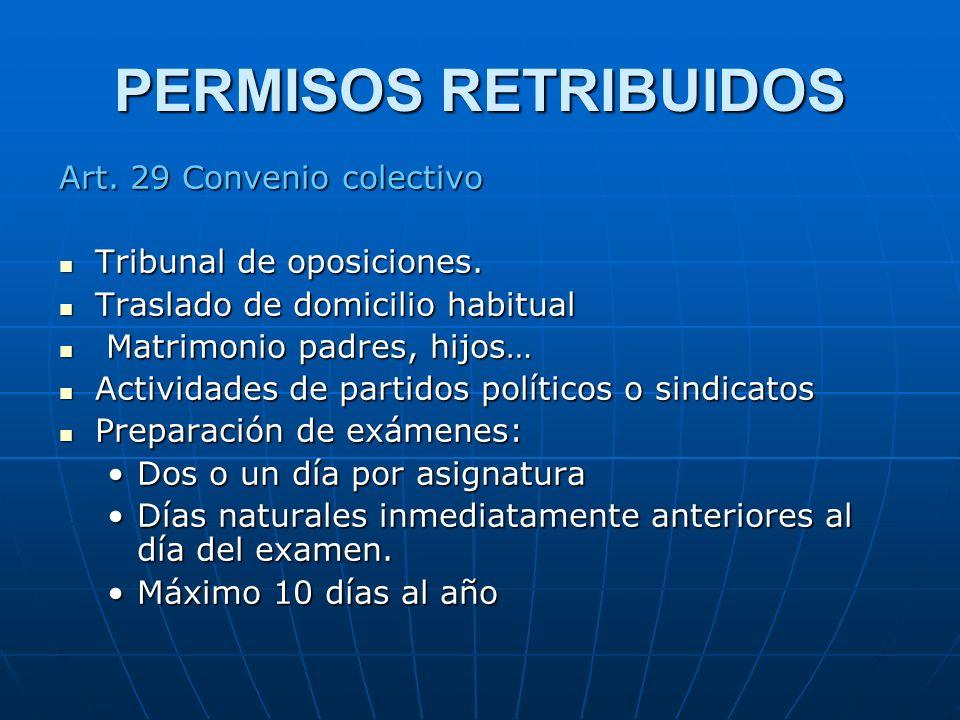 PERMISOS RETRIBUIDOS Art. 29 Convenio colectivo