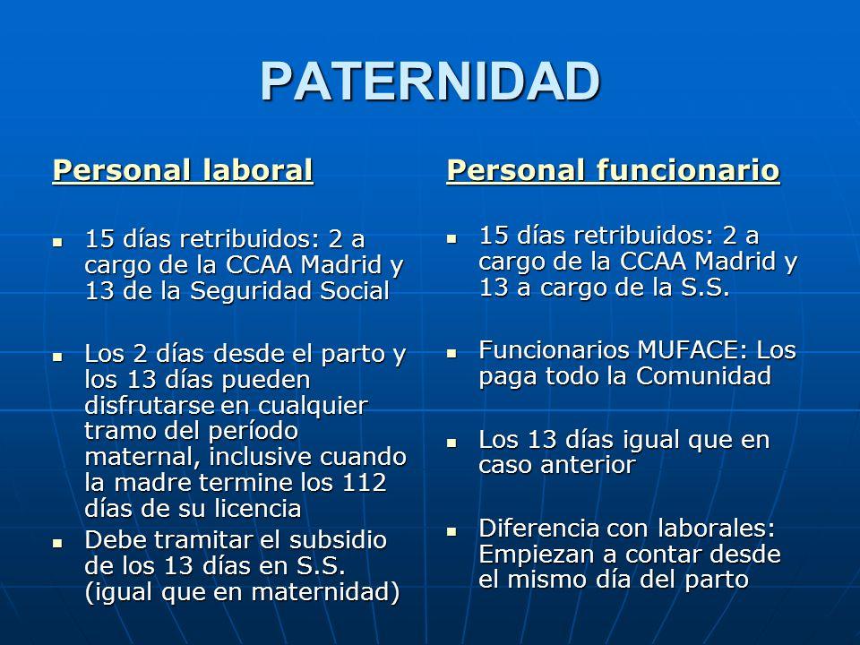 PATERNIDAD Personal laboral Personal funcionario