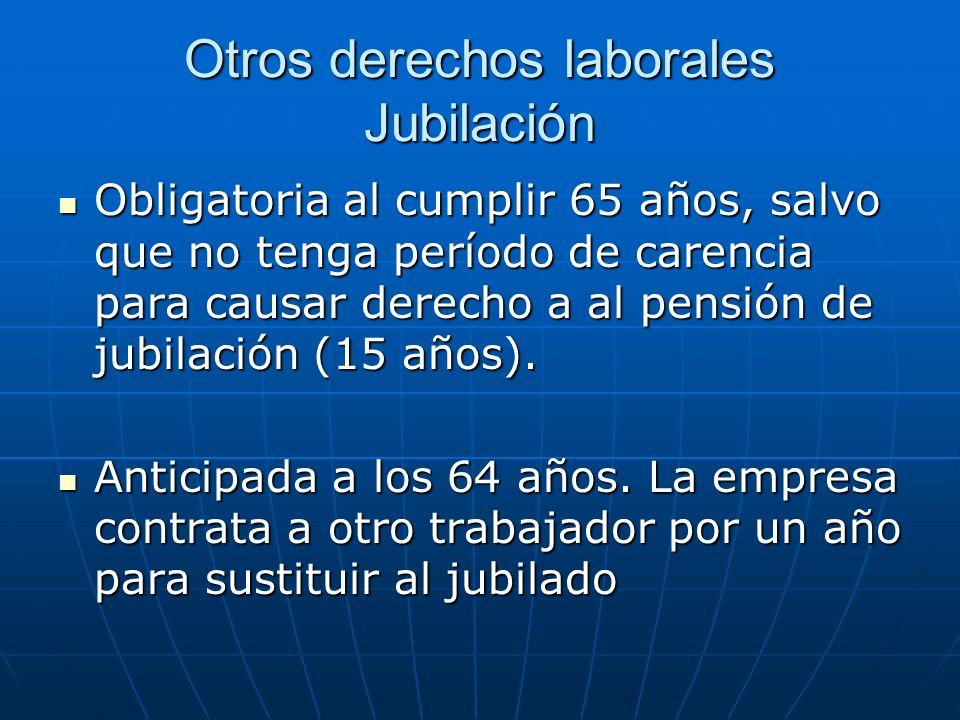 Otros derechos laborales Jubilación