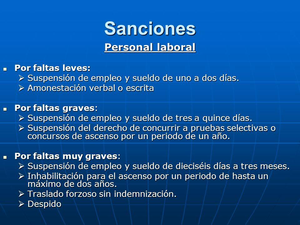 Sanciones Personal laboral Por faltas leves: