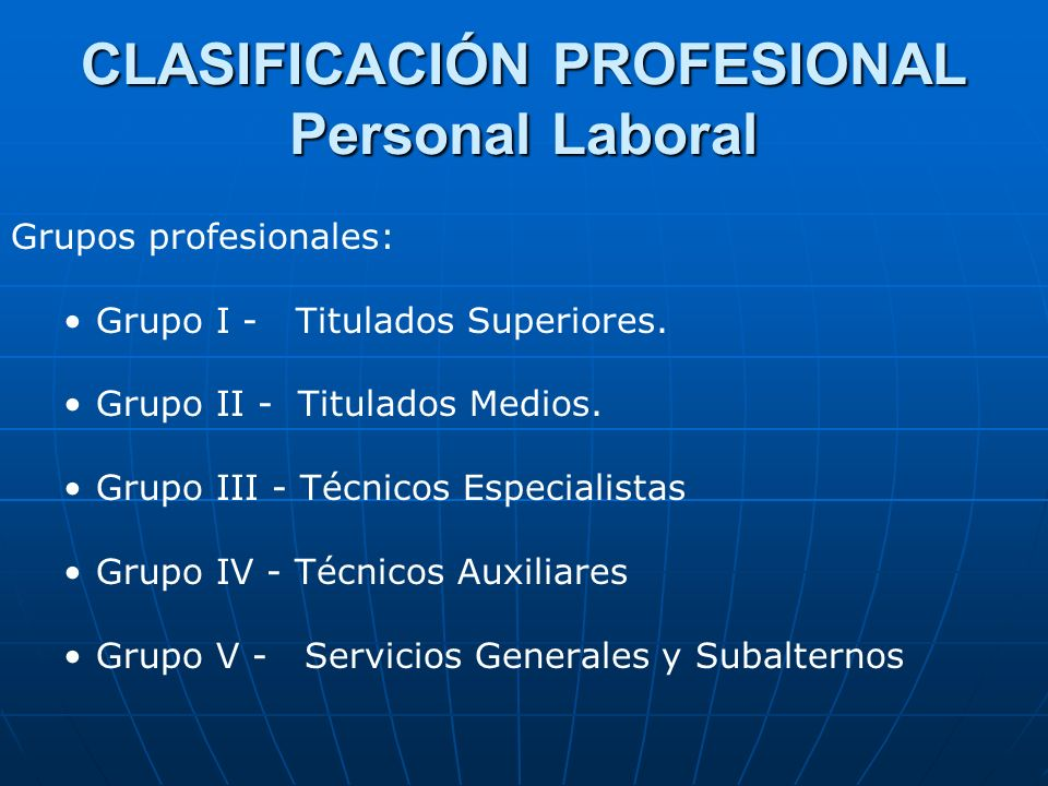 CLASIFICACIÓN PROFESIONAL Personal Laboral