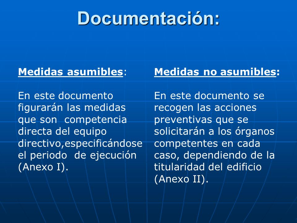 Documentación: Medidas asumibles: En este documento