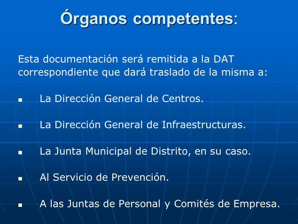 Órganos competentes: Esta documentación será remitida a la DAT