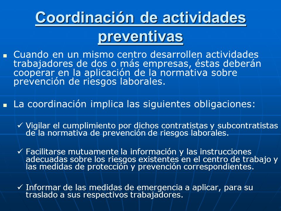 Coordinación de actividades preventivas