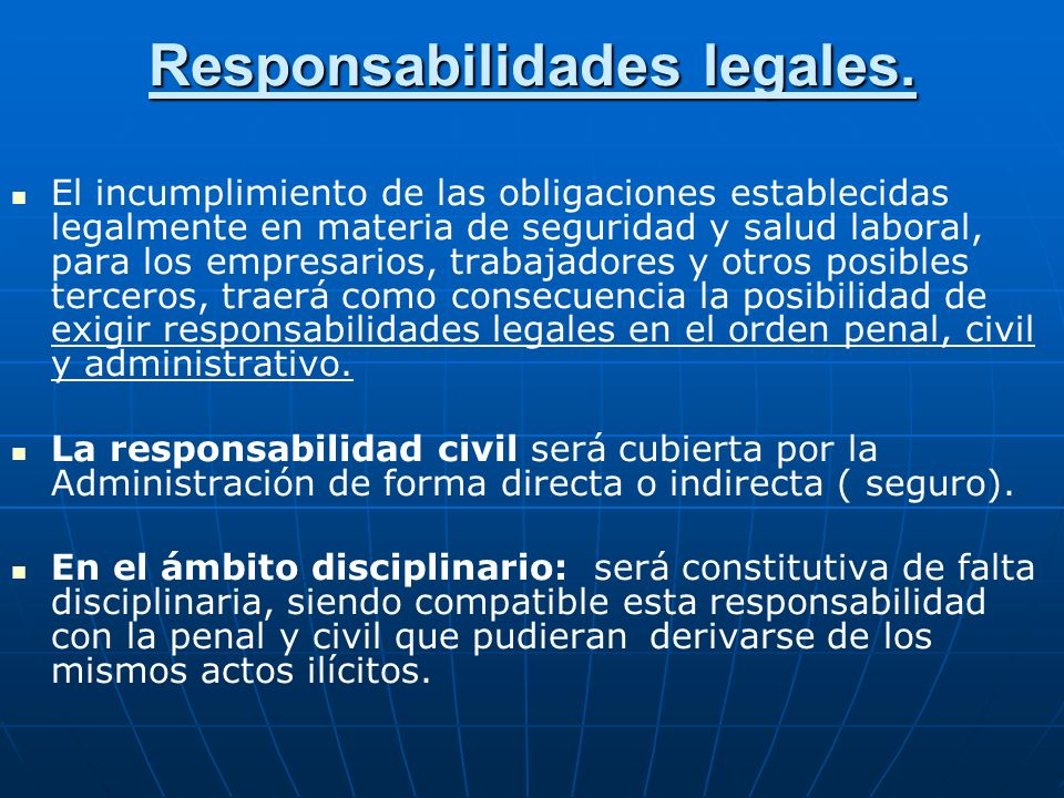 Responsabilidades legales.