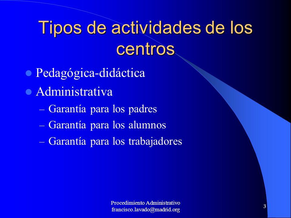 Tipos de actividades de los centros