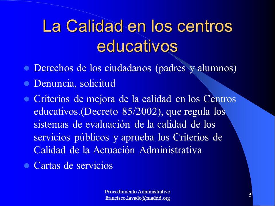 La Calidad en los centros educativos