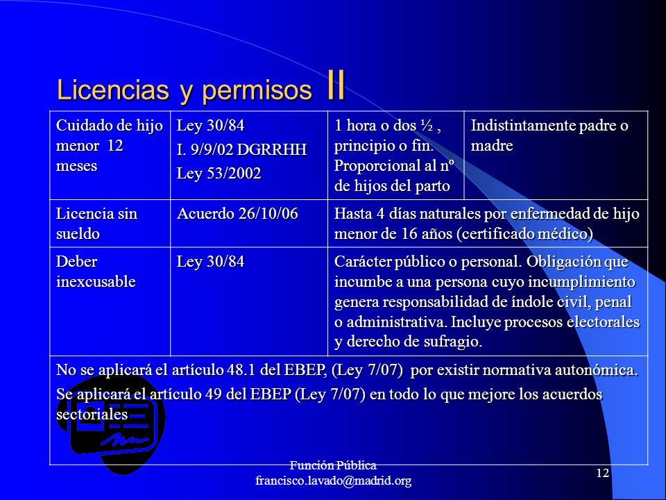 Licencias y permisos II
