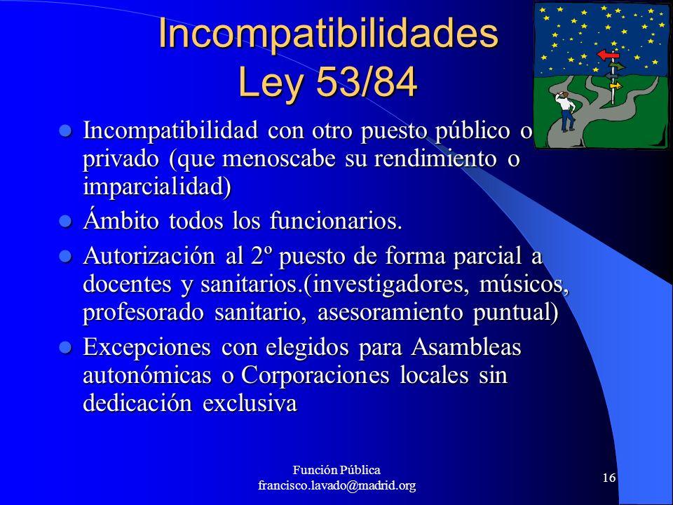 Incompatibilidades Ley 53/84