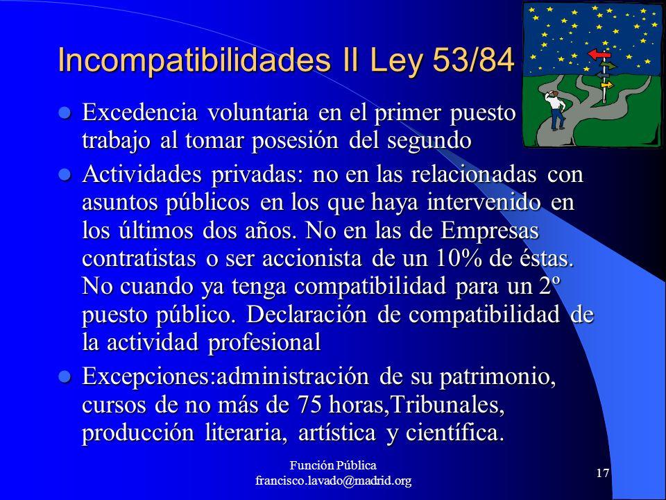 Incompatibilidades II Ley 53/84