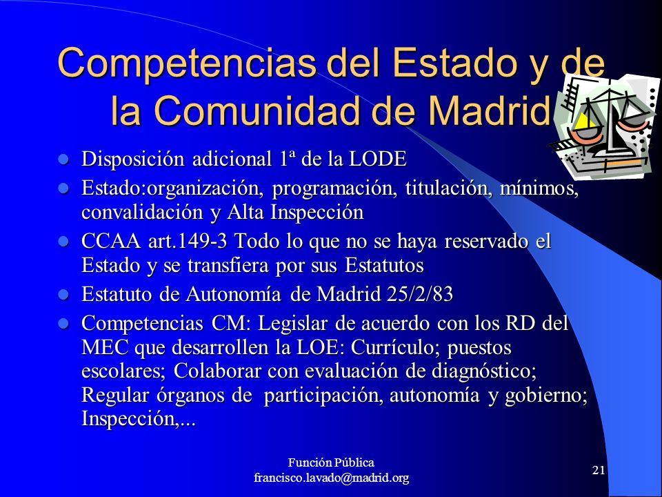 Competencias del Estado y de la Comunidad de Madrid