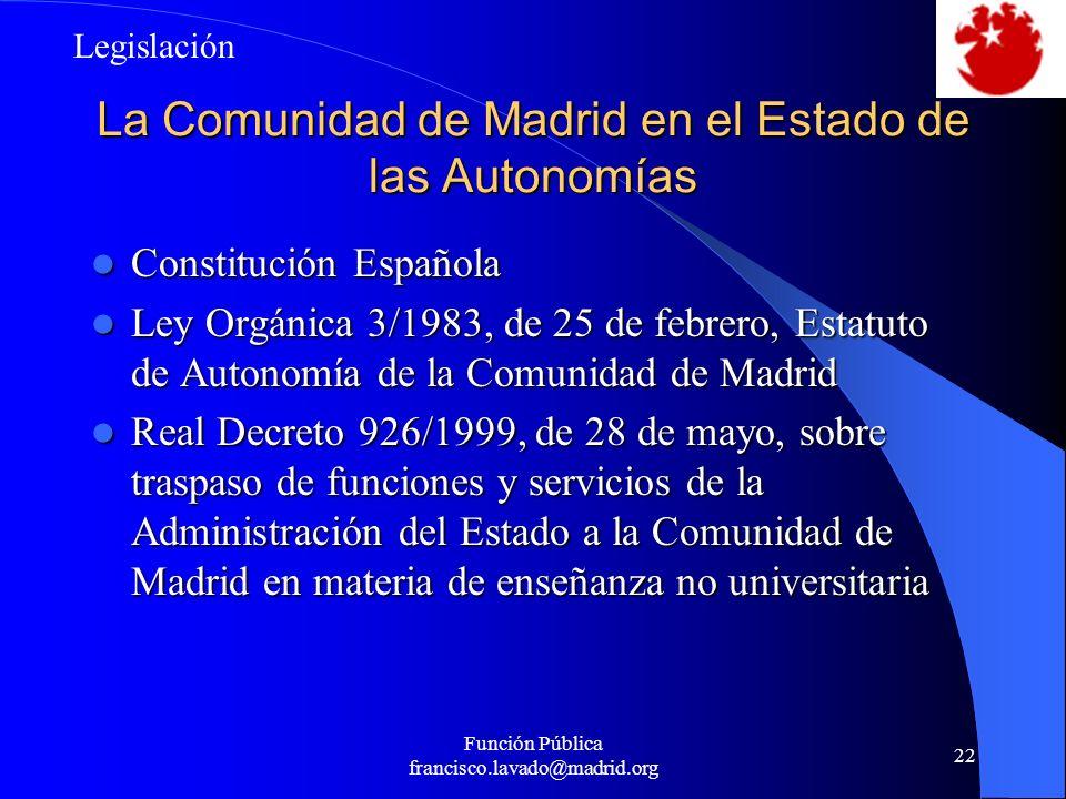 La Comunidad de Madrid en el Estado de las Autonomías