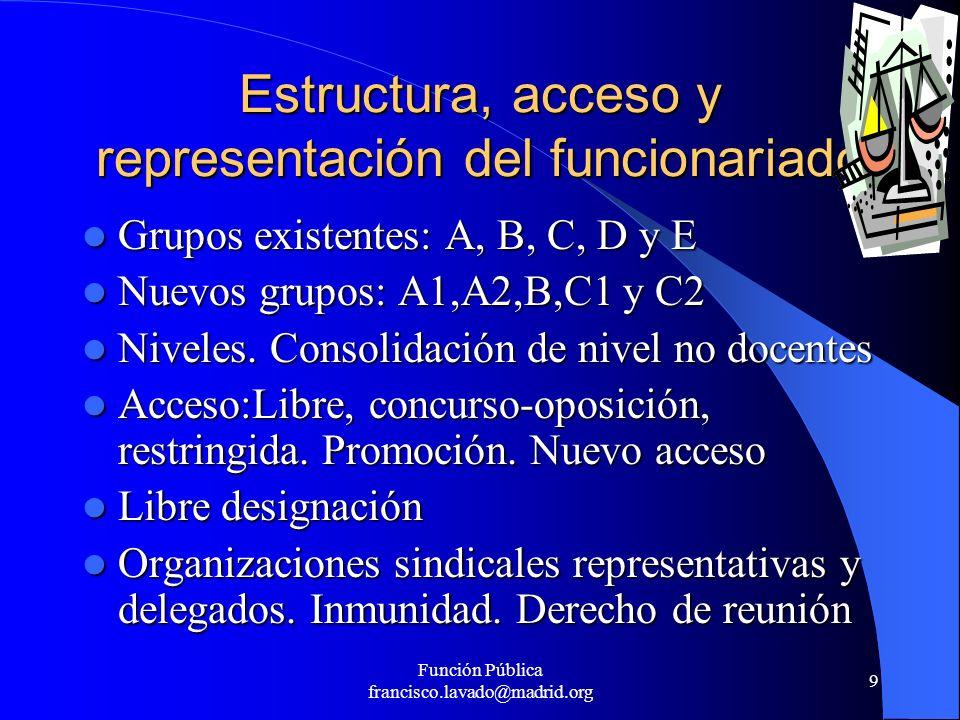 Estructura, acceso y representación del funcionariado