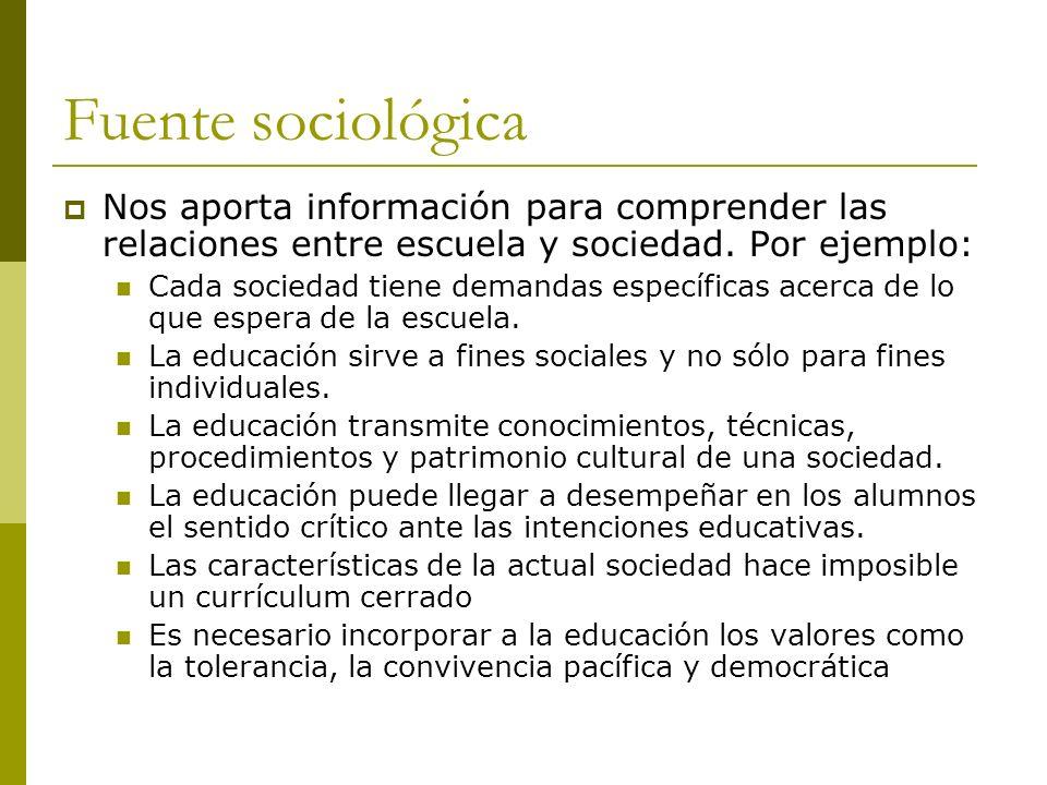 Fuente sociológica Nos aporta información para comprender las relaciones entre escuela y sociedad. Por ejemplo:
