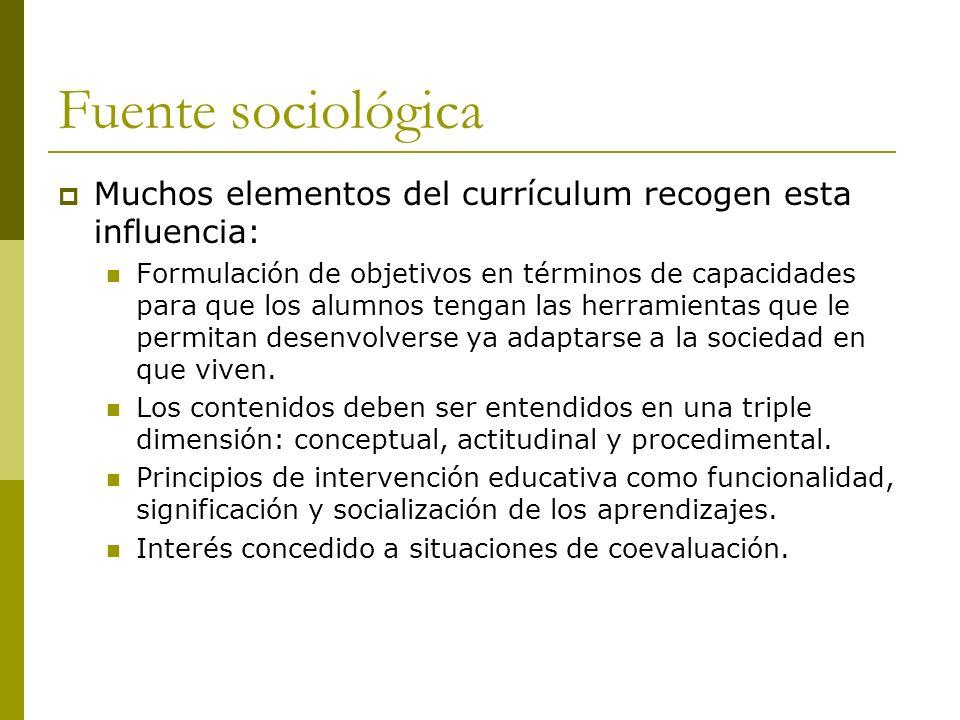 Fuente sociológica Muchos elementos del currículum recogen esta influencia: