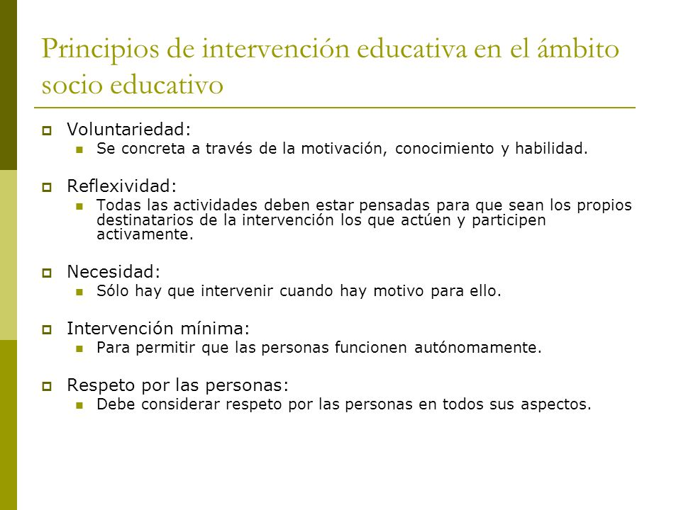 Principios de intervención educativa en el ámbito socio educativo