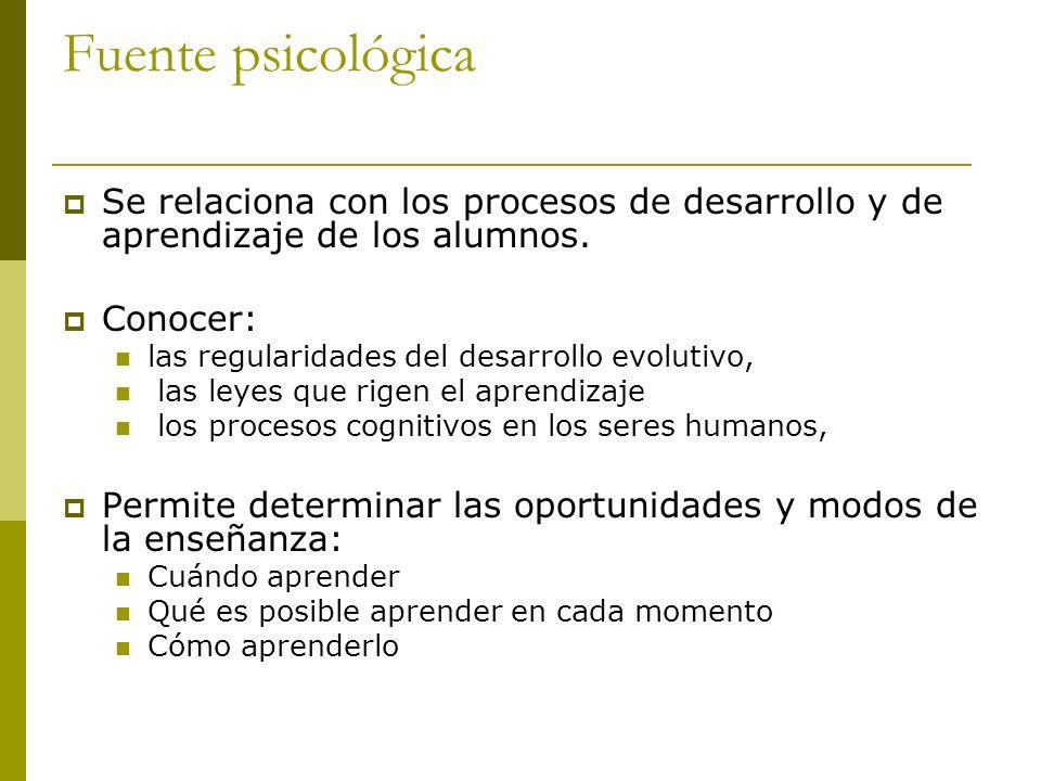 Fuente psicológica Se relaciona con los procesos de desarrollo y de aprendizaje de los alumnos. Conocer: