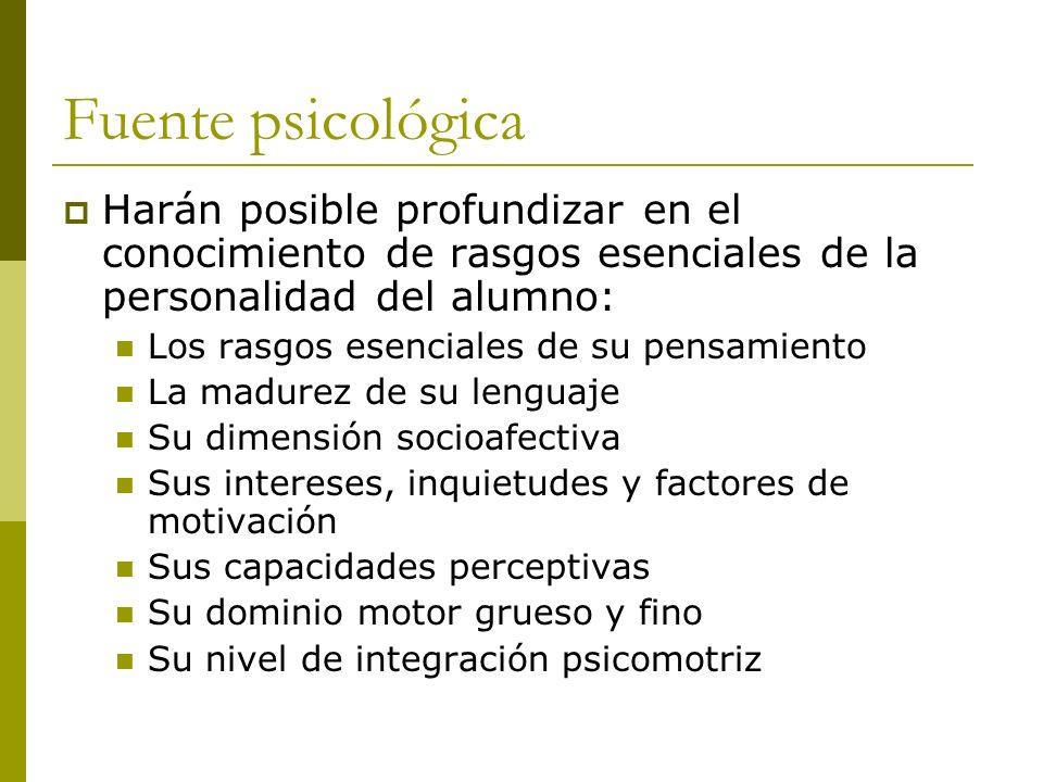 Fuente psicológica Harán posible profundizar en el conocimiento de rasgos esenciales de la personalidad del alumno: