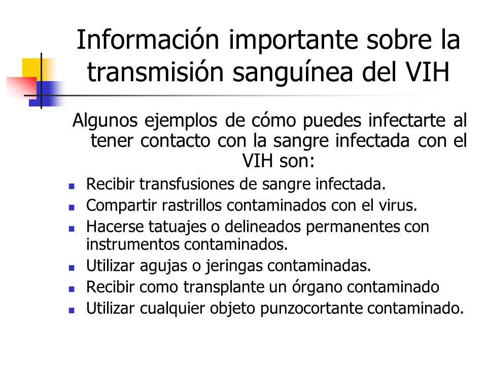 Información importante sobre la transmisión sanguínea del VIH