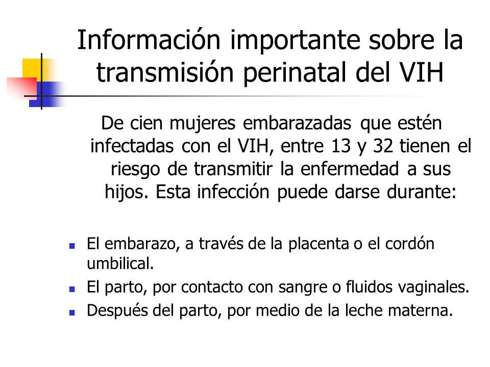 Información importante sobre la transmisión perinatal del VIH