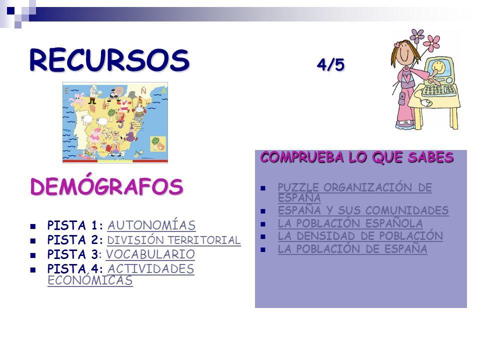 RECURSOS 4/5 DEMÓGRAFOS COMPRUEBA LO QUE SABES PISTA 1: AUTONOMÍAS