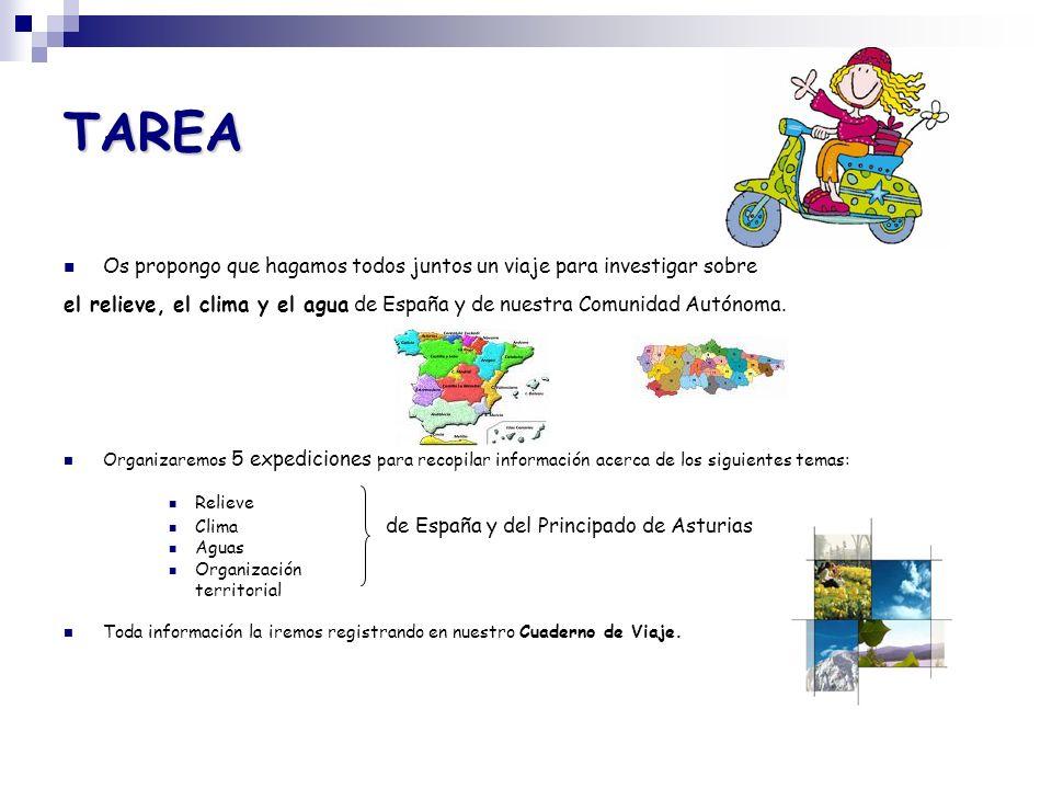 TAREA Os propongo que hagamos todos juntos un viaje para investigar sobre. el relieve, el clima y el agua de España y de nuestra Comunidad Autónoma.