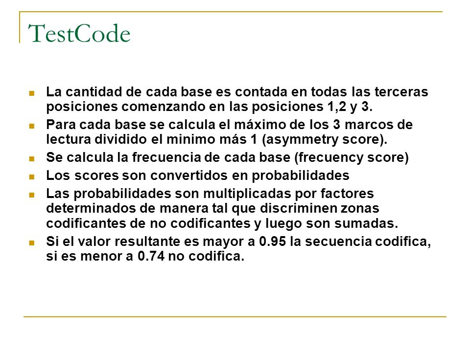 TestCode La cantidad de cada base es contada en todas las terceras posiciones comenzando en las posiciones 1,2 y 3.