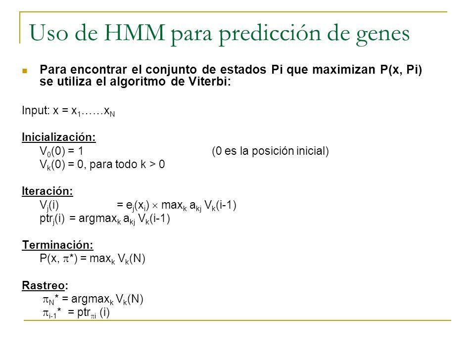 Uso de HMM para predicción de genes