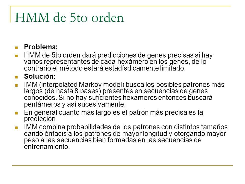 HMM de 5to orden Problema: