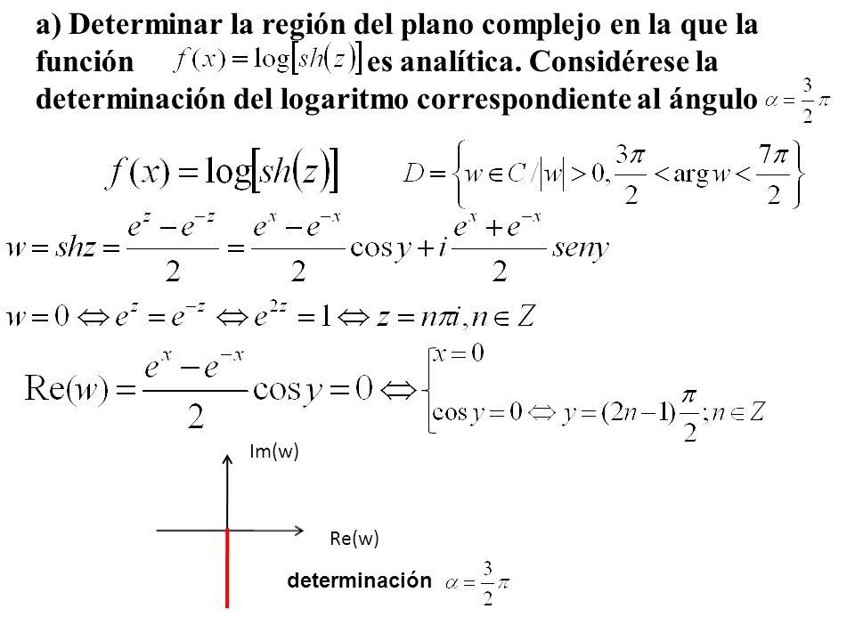 a) Determinar la región del plano complejo en la que la función es analítica. Considérese la determinación del logaritmo correspondiente al ángulo