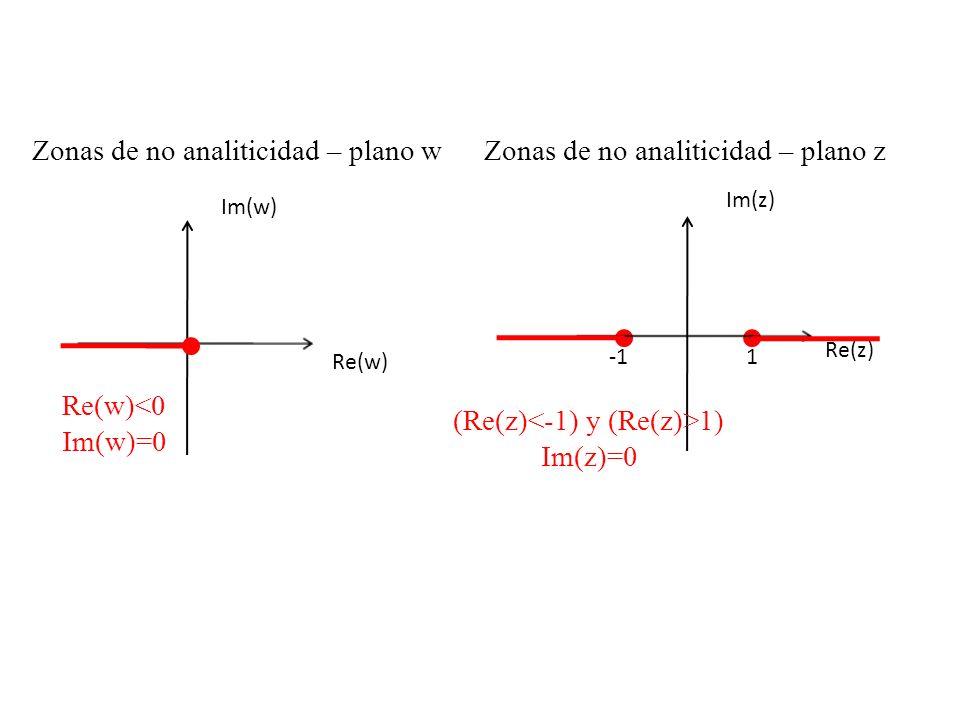 Zonas de no analiticidad – plano w