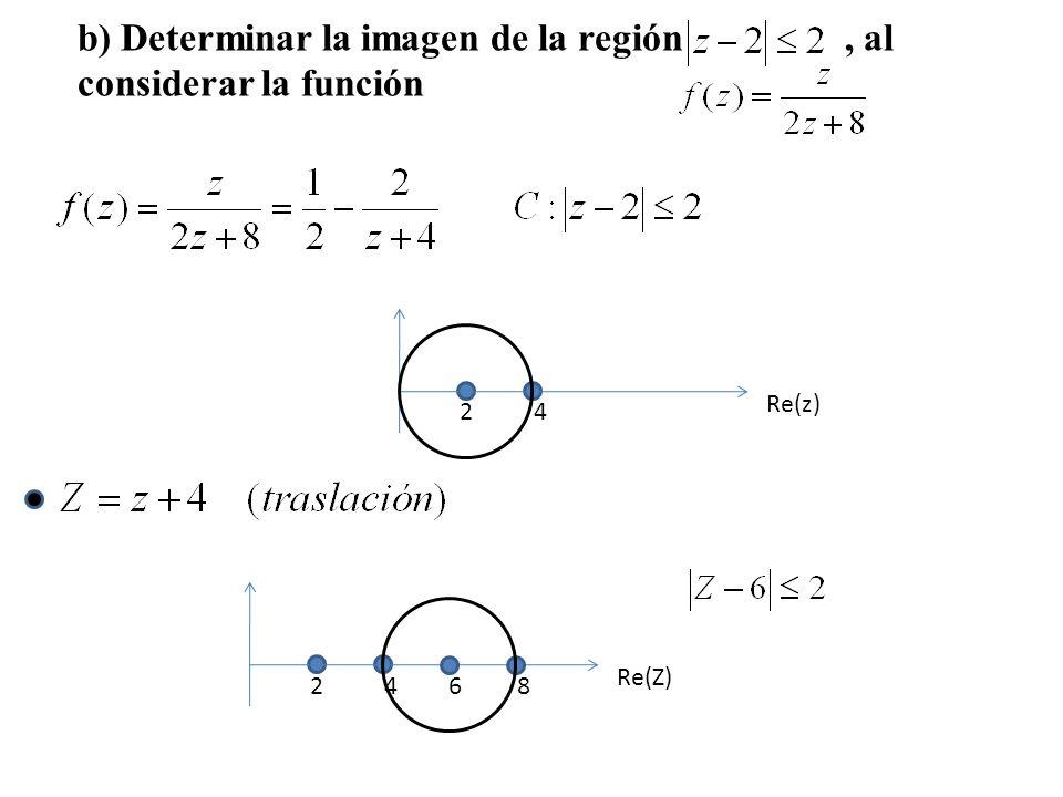 b) Determinar la imagen de la región , al considerar la función