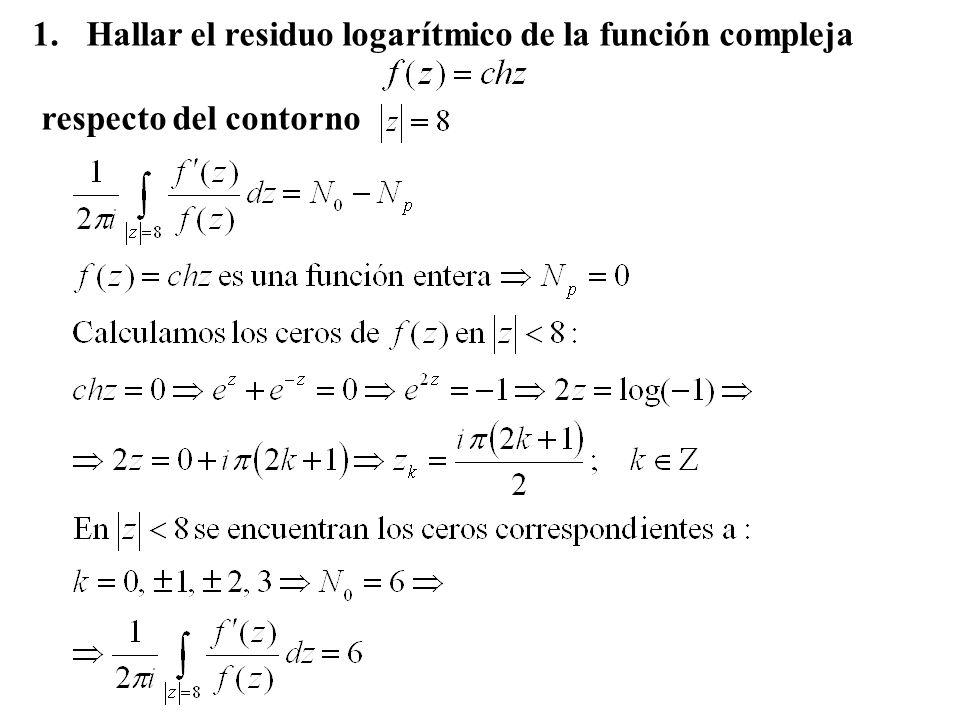 Hallar el residuo logarítmico de la función compleja