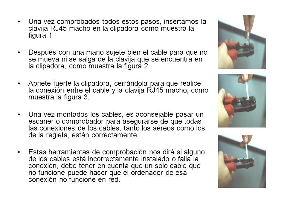 Una vez comprobados todos estos pasos, insertamos la clavija RJ45 macho en la clipadora como muestra la figura 1